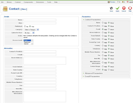 contact admin Joomla Contact Form