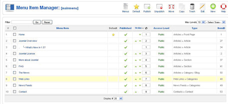 contact menu item Joomla Contact Form